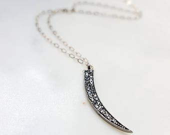 Pave Horn Pendant Necklace, Oxidized Silver Pave Pendant, Black Oxidized Silver White Pave Diamond, Diamond Horn, Pave Pepper Necklace