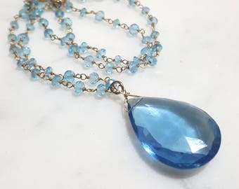Pear Drop Blue Topaz Beaded Strand Necklace, Bridesmaid Gift, Gift for Her, Something Blue, Swiss Blue Topaz Necklace, Blue Topaz Necklace