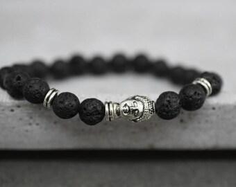 Buddha bracelet with Lava Stones (RETARM-40)