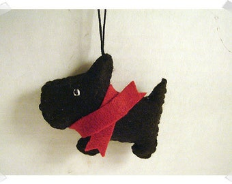 Black Scottish Terrier Ornament/ Single Or Set of 2/Made of Felt/Handmade/ MADE to Order**