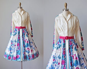 50s Dress - Vintage 1950s Dress - Scarf Silk Vivid Floral Border Print Party Dress S M - Briar and the Rose Dress