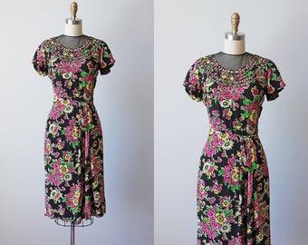 R E S E R VE D Vintage 1940s Dress - 40s Dress - Black Floral Print Rayon Dress w Sheer Mesh Neckline S - Figure Eight Dress