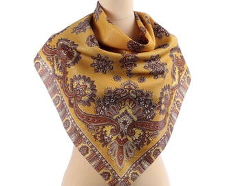 Vintage Paisley Scarf 70s Retro Printed Scarf Silver Threaded Bohemian Shawl in Brown and Yellow