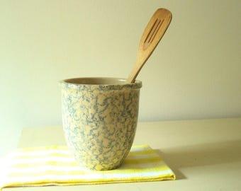 Yellow Ware Crock With Blue Glaze, Large Spongeware Crock, Vintage Kitchen  Utensil Holder