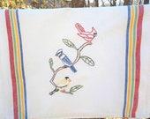 Backyard Birds Tea Towel-hand embroidered
