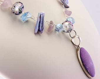 Lilac/Violet Crochet Wire Necklace with Rare Amethyst Genuine Sea Glass