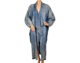 Vintage 1980s Denim Coat - Cocoon Style - Studded Denim - Acid Wash - Stone Wash -  Novelty Denim - Oversized  - L