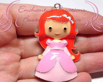 "2"" Ariel in Pink Dress Inspired Charm, Little Mermaid Inspired, Chunky Pendant, Keychain, Bookmark, Zipper Pull, Chunky Jewelry"