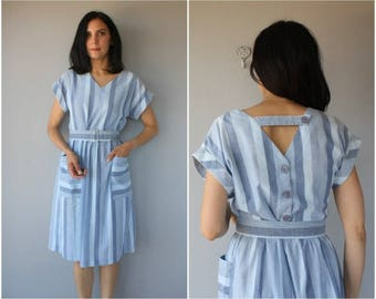 1980s Day Dress | 80s Dress | Striped Dress | 1980s Cotton Dress | 1980s Sun Dress | 1970s Dress | 70s Dress - (one size)
