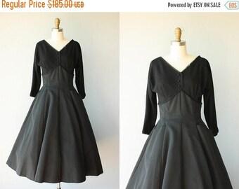 48 HR FLASH SALE Vintage 50s Party Dress   1950s Dress   50s Wool Dress   50s Formal Dress   Black Party Dress   1950s Holiday Dress