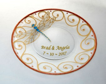 Dragonfly Platter Hand Painted Personalized Serving Platter Dragonfly Plate