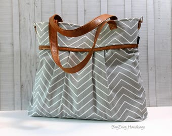 BagEnvy Handbags -Monterey Large Diaper Bag - with Vegan Leather -  In Grey Skinny Chevron  - or Custom Design Your own