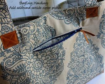 Add Additional Outside Zipper Pocket Upgrade - For Your BagEnvy Handbag Or Diaper Bag