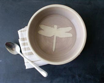 Shallow serving dish with dragonfly design - wheel thrown stoneware bowl in simply clay