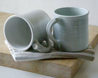 SECONDS SALE - Set of two pottery funnel mugs glazed in brilliant white
