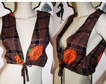 ON SALE Vintage Tie Vest in Floral Pattern from P. J. Walsh New York. Small.
