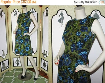 ON SALE 1960's A-Line Dress in Olive Green and Blue Floral Print. Stunning. Small