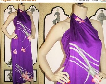 ON SALE Vintage 80's Hawaiian Sarong Dress in Purple Floral by Malihini. One Size.