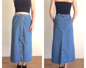 SUMMER SALE 90s Midi Skirt, Button Down High Waist Jean Circle Skirt, Midi Skirt with Pockets, High Rise Denim Skirt Buttons Long Circle Ski