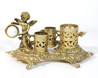 Vintage Gold Filigree Lipstick and Perfume Holder - Angel - Hollywood Regency