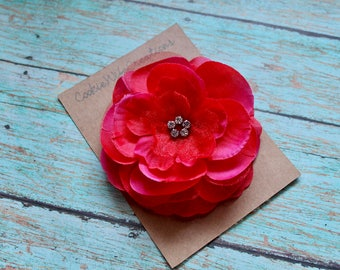 Red Multi-Layered Flower Hair Clip