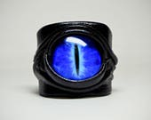 Leather ring. Statement ring. Evil eye adjustable black leather ring. Snake eye black leather ring. Dragon eye black leather ring