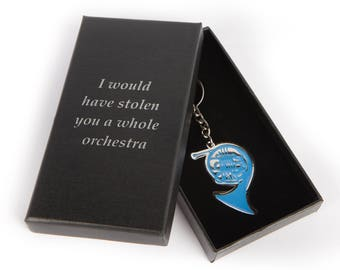 Blue French Horn Keychain In Black Gift Box, inspired by Ted's gift to Robin on How I Met Your Mother