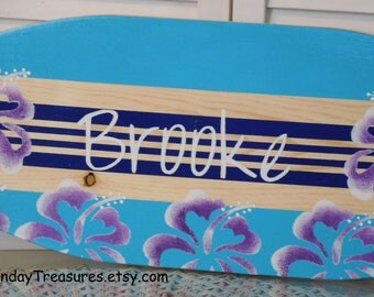 SALE 27 inch Surfboard Wall Decor. Wall Hanging / Beach Sign Surf Theme / Hawaiian Surfer Girl. PERSONALIZED  Lots Designs 3 sizes