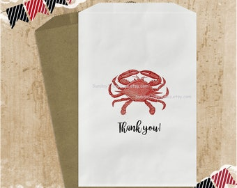 Qty 10 Red Crab Favor Bags / Utensils Holder / Candy Cookie Popcorn / 5x7 / Crab Fest Crab Boil / Wedding Birthday Nautical / Sea Life