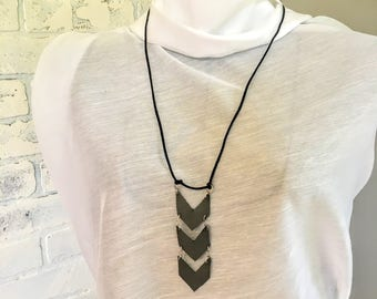 Long Gray Leather Arrow Necklace