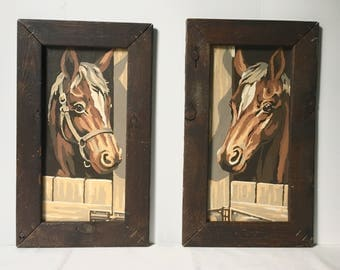 Vintage Pair of Paint By Number Horses - Two Framed Horse Paintings Vintage 1980s - Wall Art - Home Decor - For Horse Lovers - Free Shipping