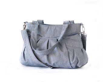 Crossbody bag in light blue canvas, messenger purse convertible bag over the shoulder bag - Elessa bag