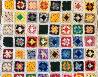 Hand Crocheted Scrappy Granny Square Afghans, Vintage Style, various sizes/styles