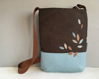 Large CROSSBODY bag in brown canvas and dove blue vegan leather. Autumn leaves embroidery