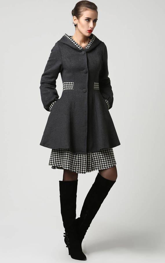 long jacket dark grey coat wool coat midi coat hooded