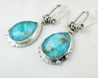 Turquoise and Quartz Faceted Sterling Silver Earrings