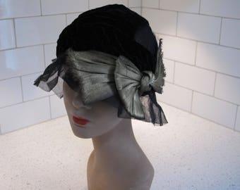 Hat Cap 1930s Vintage Black Velvet Silk Net Metallic Old Gold Lame As Is for Pattern or Re Design Repurpose