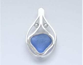 Sea Glass Jewelry - Sterling Cobalt Blue Sea Glass Pendant
