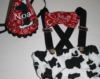 cowboy cake smash outfit boys first birthday outfit red bandana with cow print 1st birthday hat suspenders diaper cover bow tie birthday hat