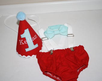 red cake smash outfit boy first birthday outfit boy 1st birthday aqua blue white red boys diaper cover bow tie birthday hat suspenders