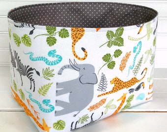 Storage Basket Fabric Bin, Organizer Diaper Holder, Nursery Decor, Animals, Safari, Zoo, Jungle, Giraffe, Elephant, Orange, Gray, Green