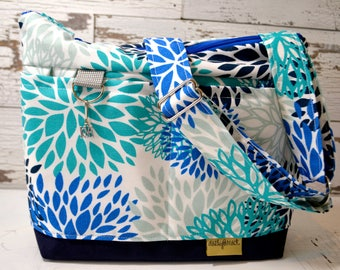 Petite Camera Bag, perfect paring for jeans!  Navy, turquoise, and royal blue  floral - messenger purse & Strap  by Darby Mack