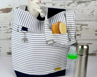 Diaper bag for Mom & Baby in Navy Blue Ticking Stripe, waterproof base -Lightweight and durable! by Darby Mack made in the USA