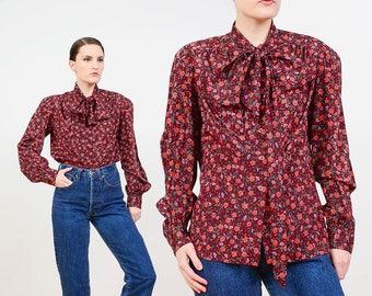 Vintage 70s Blouse | Brown Floral Blouse | Pussy Bow Blouse | Boho Prairie Shirt | Long Sleeve Button Down Secretary Blouse | Medium M