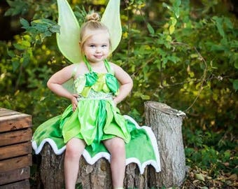 Tinkerbell Couture Fairy Halloween Dress Costume Twirly Boutique Party Pageant peter pan