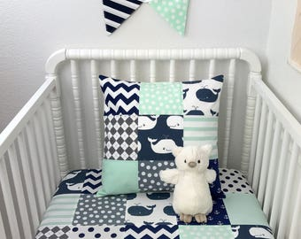 Baby Blanket, Patchwork Baby Blanket, Boy Nursery Decor, Crib Bedding, Whales, Anchors, Mint, Green, Navy, Blue, Gray, Grey,Chevron,Nautical