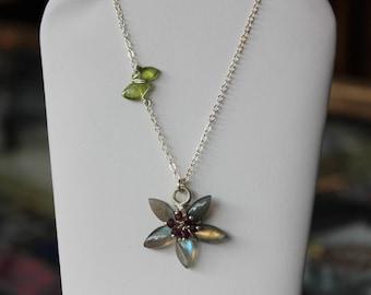 Labradorite and Garnet Flower Necklace