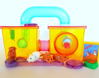 Vintage Littlest Pet Shop Jogging Gerbils with Gerbitrail Playset by Kenner 1992 Retro 90s Toy