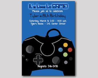 Blue Video Game Gamer Birthday Invitation Any Age, Digital Printable JPG or PDF File, Boys Birthday