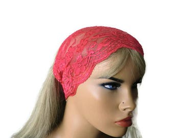 Watermelon Red Stretch Lace Headband, Bridesmaids Hair Wrap-Anytime fashion-Summer headbands-Summer fashion (0029)